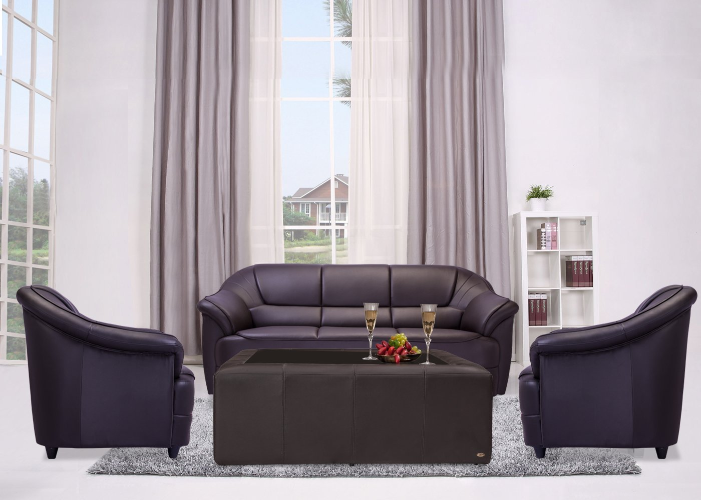 brown sofa sets. Durian Berry Five Seater Sofa Set 3-1-1 (Matte Finish, Coffee Brown): Amazon.in: Home \u0026 Kitchen Brown Sets H