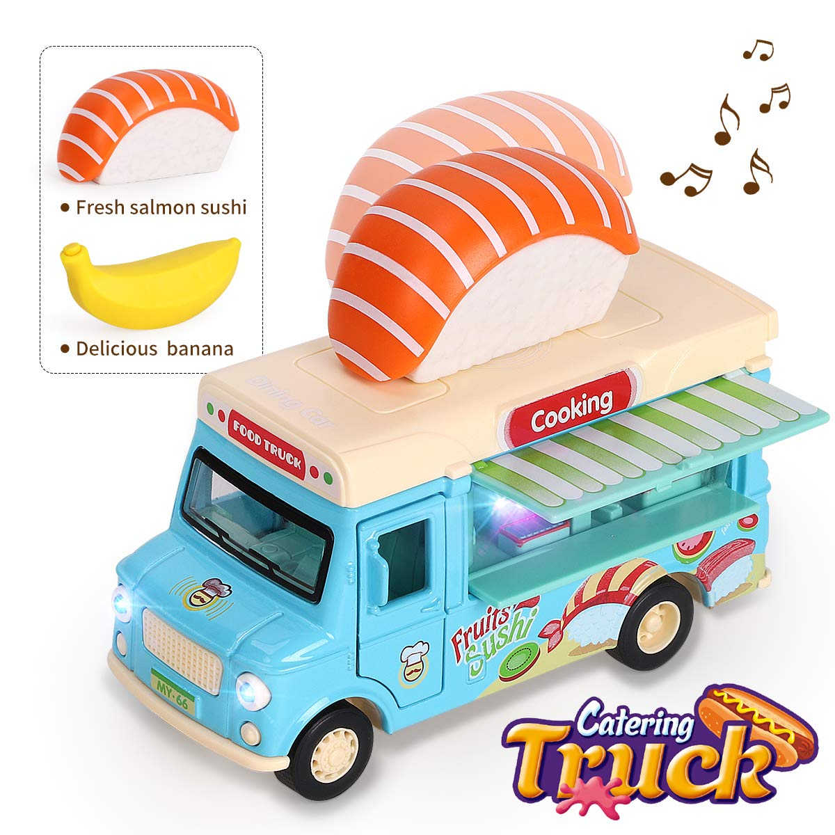 REMOKING Alloy Dining Car Toy, Educational Stem Pull-Back Magnetic Induction Car, 1:36 Scale Die-cast Food Truck Creative Decoration Model with Sounds and Lights, Great Gifts for Children and Adults by REMOKING