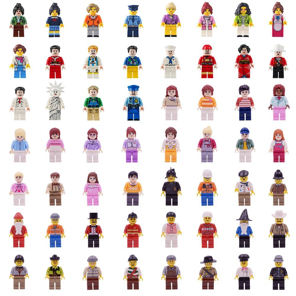 Real Minifigures Set - 56pcs Mini Community Building Bricks People Kids Party to Build More Fun,Boys Girls' Toys 100% Compatible