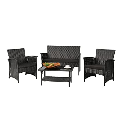 Baner Garden N82 4 Piece Outdoor Furniture Complete Patio Cushion Wicker Rattan Garden Set Full  sc 1 st  Amazon.com & Amazon.com: Baner Garden N82 4 Piece Outdoor Furniture Complete ...