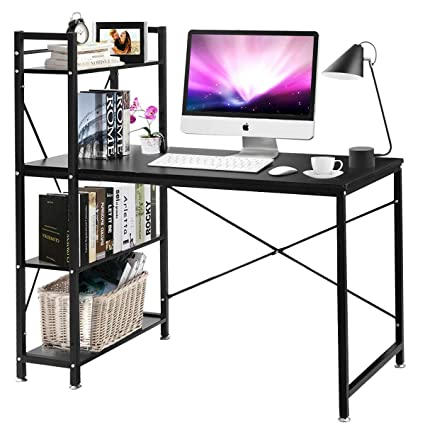 Superbe Amazon.com: Tangkula Computer Desk, Modern Style Writing Study Table With 4  Tier Bookshelves, Home Office Desk, Compact Gaming Desk, Multipurpose PC ...