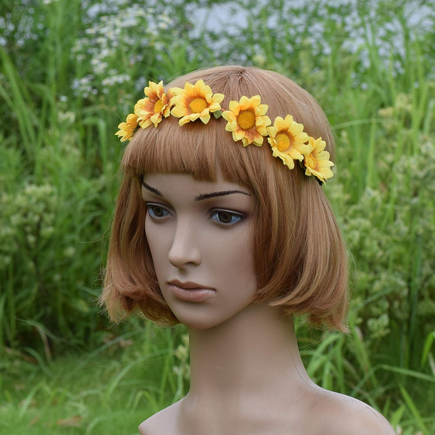 Poooyun-Life Sunflower Flower Crown Wreath Headband Bridesmaid Elastic Floral Crown Girl Women Wedding Headband Hair accessories,1