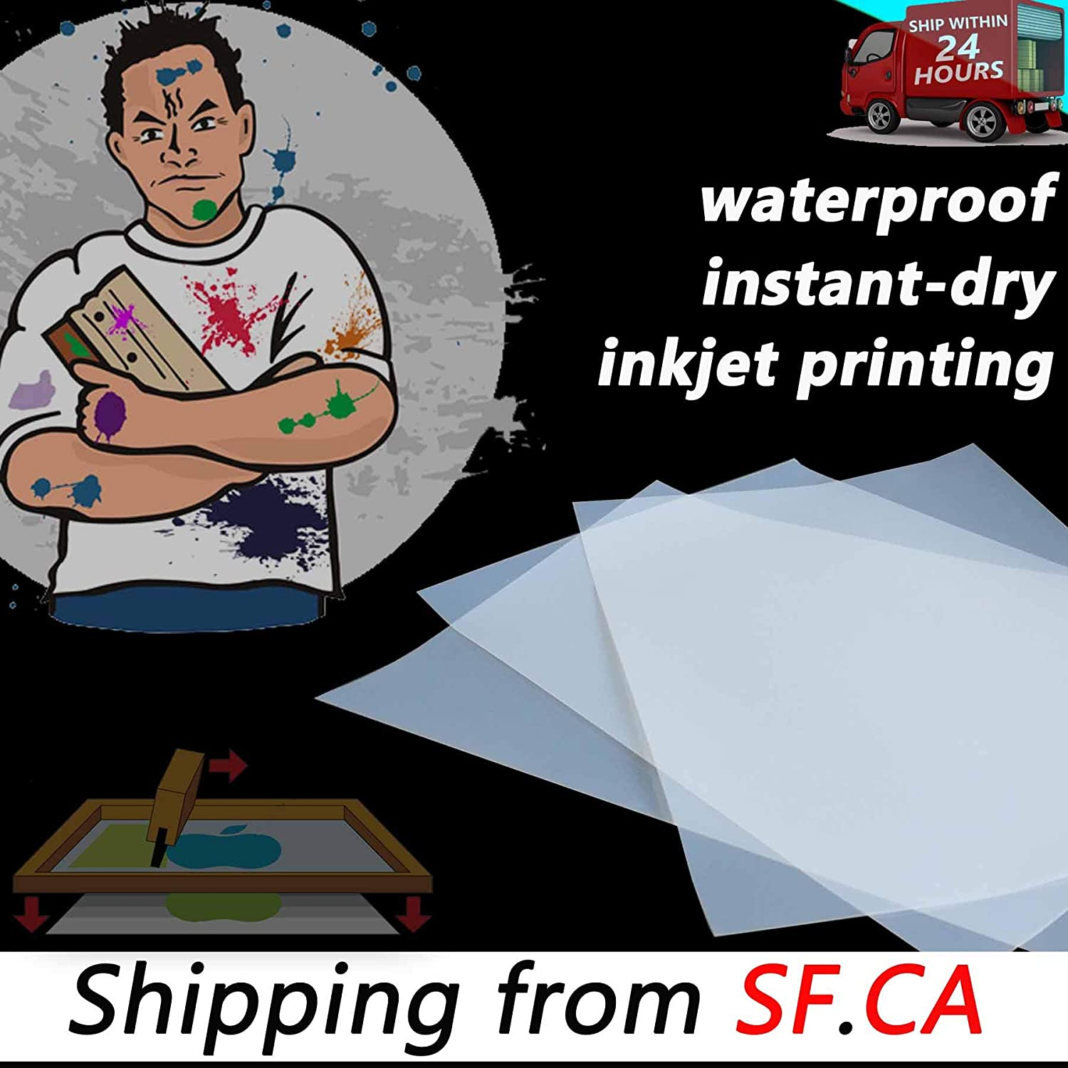 17x100、roll Premium Waterproof Inkjet Instant-Dry Milky-Transparency Positive Silk Screen Printing Film,Great for EPSON,HP,Canon Water-Based Dye and Pigment Inks Printers