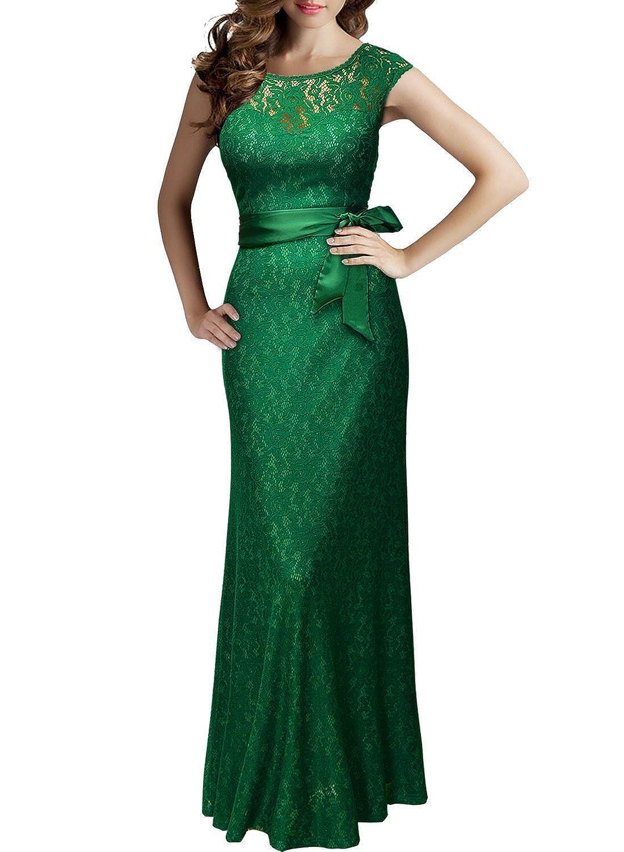 My Moment Women Deep V Lace Floral Sleeveless Bridesmaid Maxi Long Party Dress
