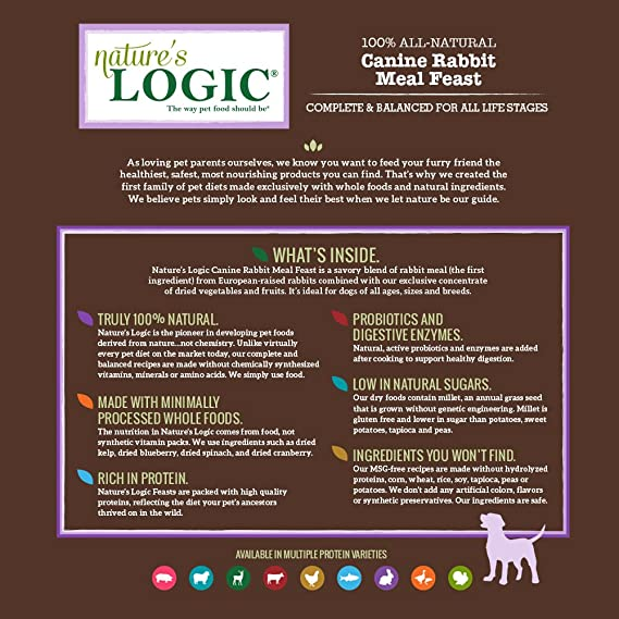Amazon.com : NatureS Logic Canine Rabbit Meal Feast, 15.4Lb : Dry Pet Food : Pet Supplies