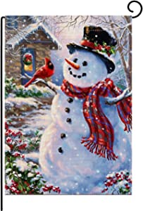 "Burlap Duble Sided Garden Flag Merry Christmas Happy Snowman and Cardinal Winter Holiday Banner 12.5"" X 18"" Yard Flags"