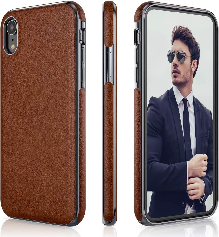 LOHASIC iPhone XR Leather Case, Slim Fit Anti-Slip Grip Flexible Soft Bumper Drop Proof Scratch Resistant Full Body Protective Phone Cover Cases for iPhone XR (2018) 6.1