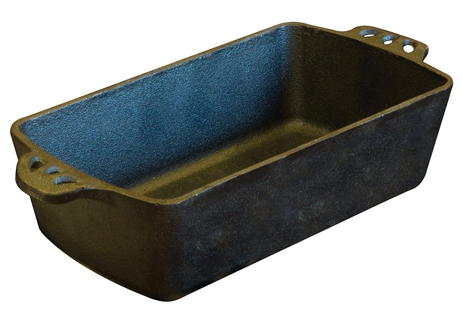 New Kitchen Black Camp Cabin Cast Iron Bread Meat Loaf Pan with Scraper Combo