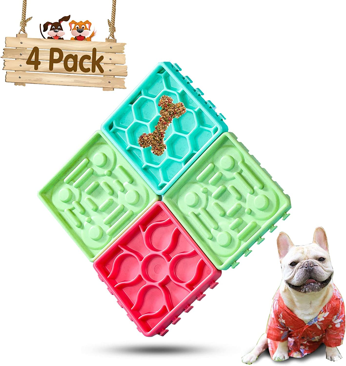 PetsBark 4 Pack Dog Bowl Slow Feeder Peanut Butter Lick Mat, No Chocking Feeding Bowl for Cats, Dogs and Other Pets, Lick Plate and Treats Slow Feed Bowl Can be Assembled or Disassembled