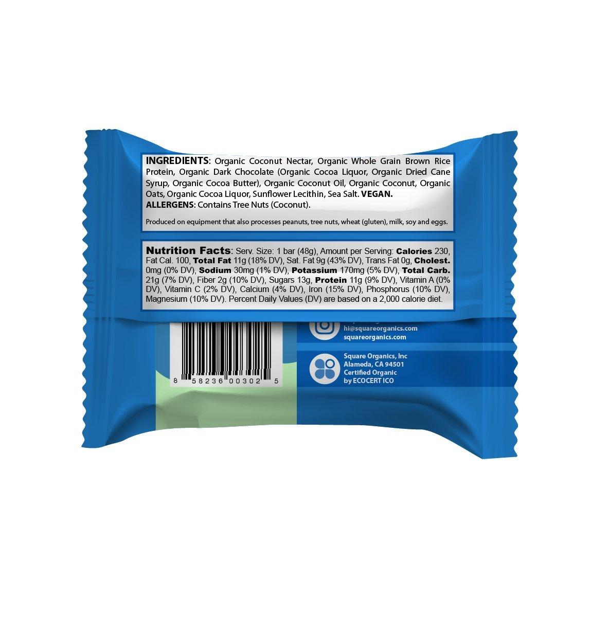 Square Organics Organic Protein Bar, Chocolate Coated Coconut (12 ...