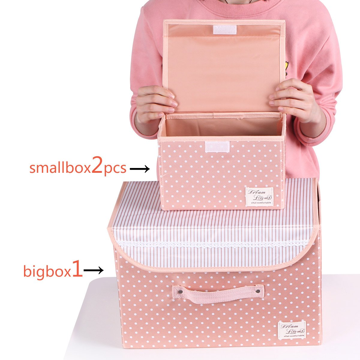 Sivin 1Pc M size+2 Pcs S size Foldable Storage cubes Storage Box Holder Container Organizer Storage Bins with lids and Handles For office,magzines,books,Kid's clothings,towels,Snacks (Dot Pink)