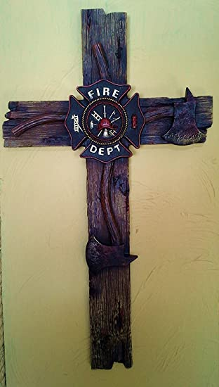 Amazon.com: Firefighter\'s Decorative Wall Cross (Large - 20X13 ...