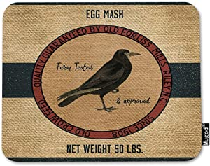 Mugod Crow Mouse Pad Old Crow Feed Egg Mash Vintage Feed Sack Red Brown Black Mouse Mat Non-Slip Rubber Base Mousepad for Computer Laptop PC Gaming Working Office & Home 9.5x7.9 Inch