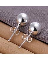 Fashion Silver Plated 8mm Ball Stud Earrings Ear Studs