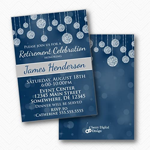 amazon com blue gray white retirement party printed invitations