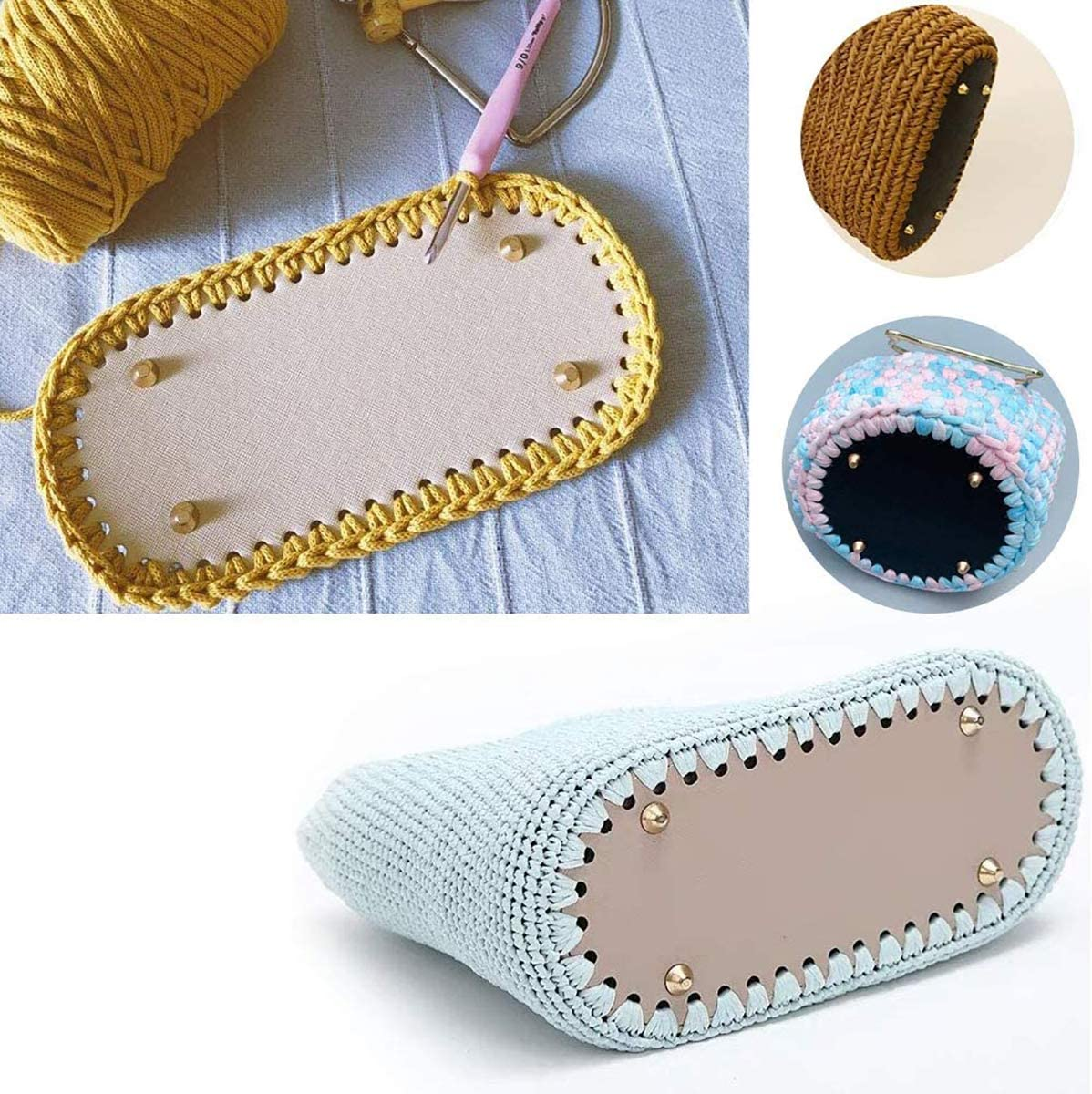 SUPVOX PU bolsa inferior Shaper oval DIY mujer hombro bolsa de punto accesorios albaricoque