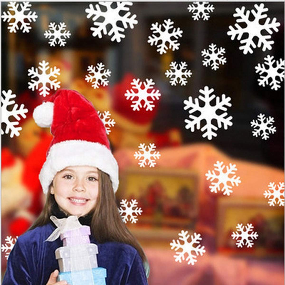 Adesivo decorativo natalizio 56 fiocchi di neve 5 diversi disegni / 2 fogli / Dimensioni: 30 * 45 cm / fogli Decorazione della finestra di Natale inverno Secco Parete Vetro Specchio Finestra / Adesivo per finestra fiocco di neve di Natale heekpek