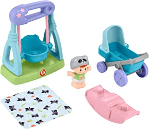 Fisher-Price Little People Swing & Stroll Babies Play Set with Figure and Pretend Outdoor Toys for Toddlers and Preschool Kids
