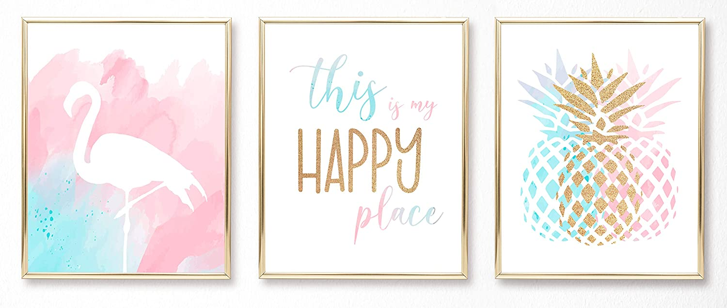Teen Girl Room Wall Decor Art Prints - Inspirational Wall Art, Motivational Quotes Posters for Kids, Tween Women Office Bedroom, Dorm, Cubicle, Desk - (Unframed 8 x 10 Set of 3) Pineapple, Flamingo