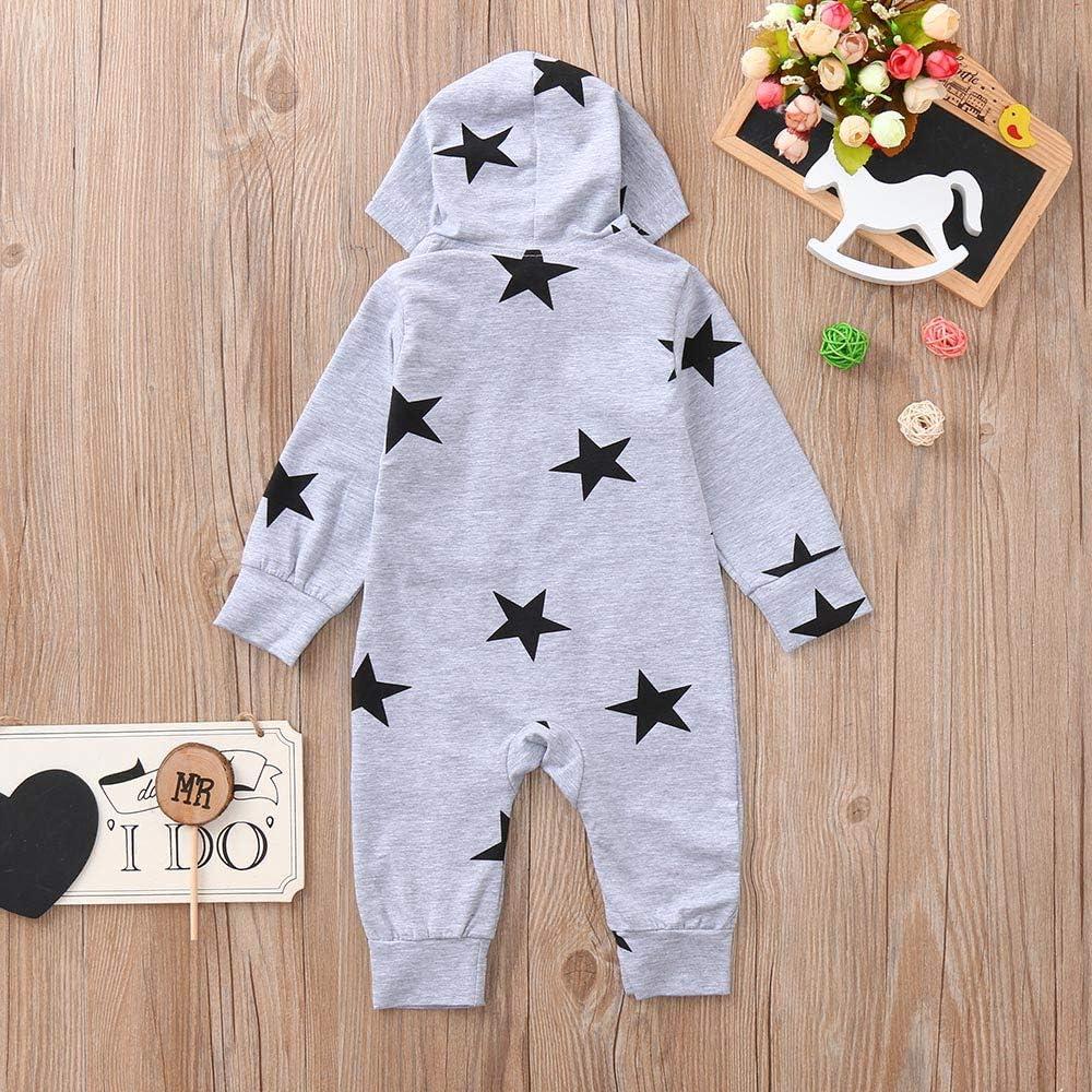 Sikye Infant Warm Onesies 3-24M Baby Star Print Hooded Zipper Romper Bodysuit Outfits