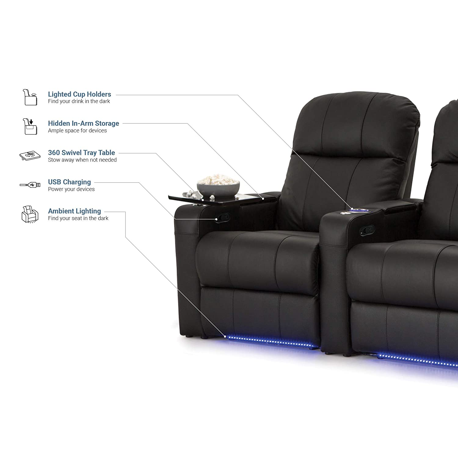Seatcraft Venetian Home Theater Seating Manual Recline Bonded Leather with Hidden In-Arm Storage, Swivel Tray Tables, USB Charging, Lighted Cup Holders and Base, Row of 2, Black
