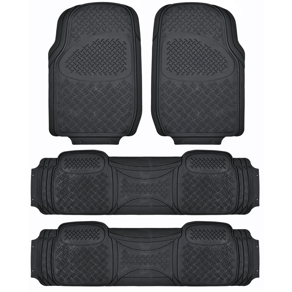 MT-713-711-GR/_AMHD 4 Pieces 3 Rows Full Set- All Weather Trimmable Mat Gray BDK Heavy Duty VAN SUV Rubber Floor Mats