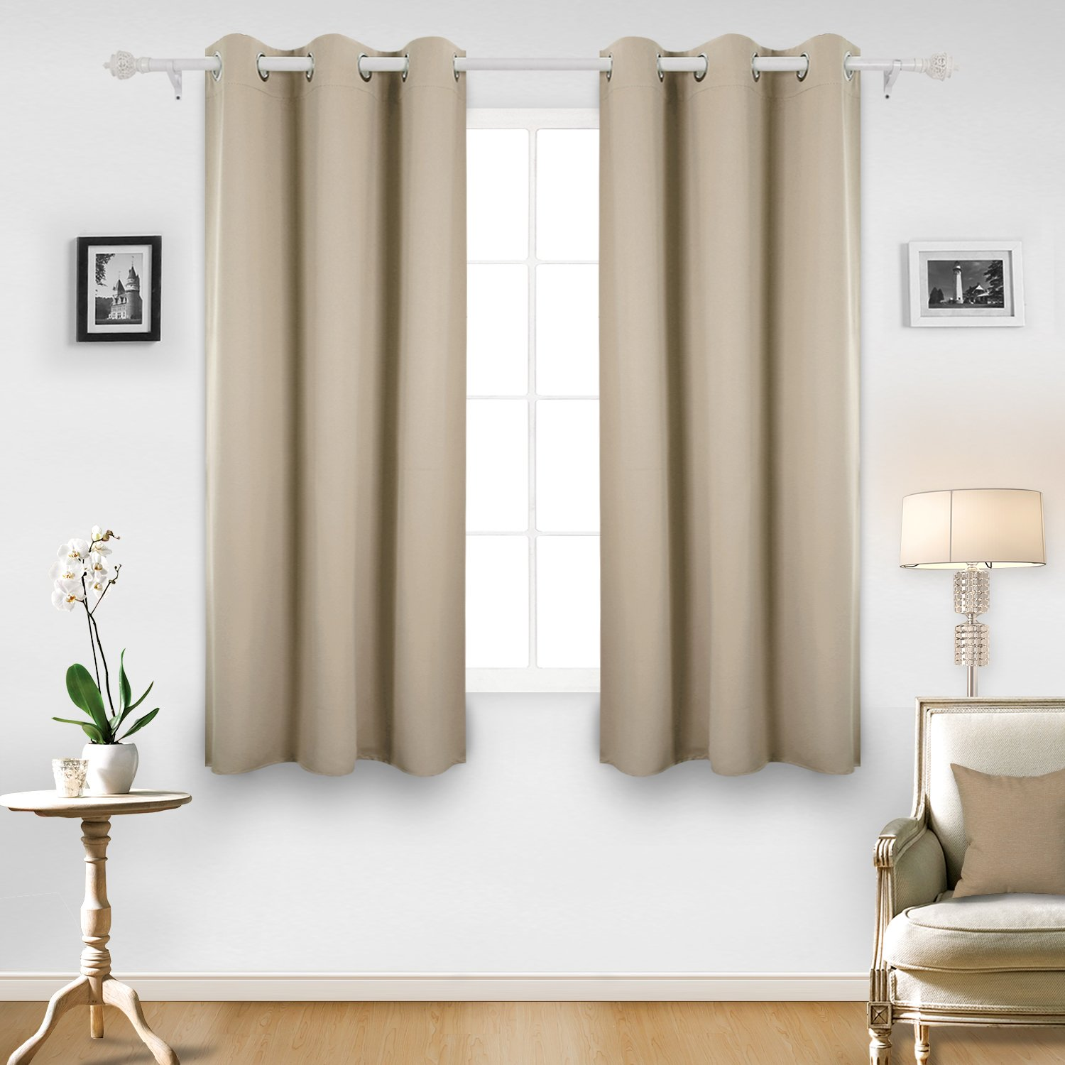 Deconovo Room Darkening Thermal Insulated Blackout Grommet Window Curtain Panel For Living Room, Beige