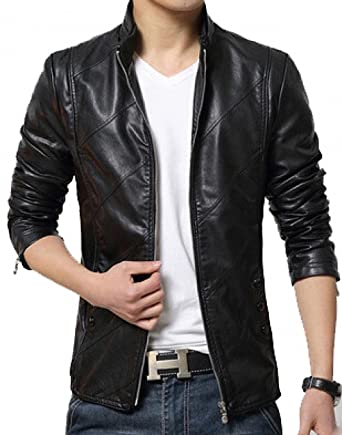 Hugme.Fashion Men s Smooth Leather Jacket (JK54 Black Medium ... 5f1127a03ed