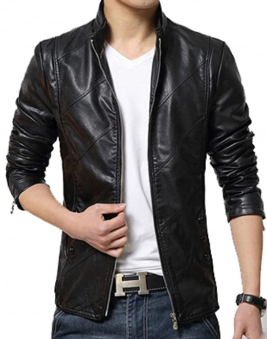 famous brand exclusive deals Discover HugMe.Fashion Genuine Leather Jacket for Men Black