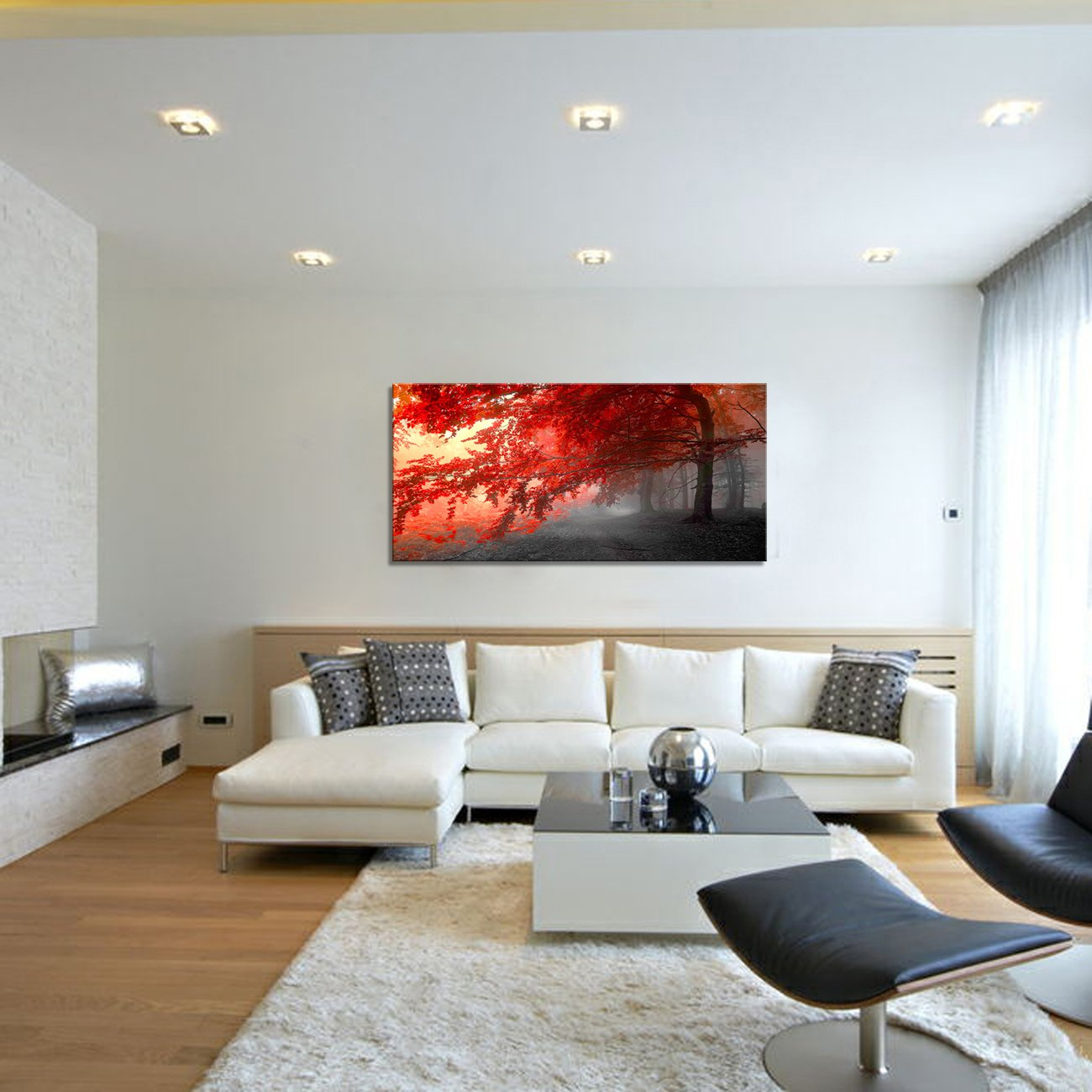 wall art Stretched Framed Ready Hang Flower Landscape Red Tree Flower Modern Painting Canvas Living Room Bedroom Office Wall Art Home Decoration by youkiswall art (Image #6)