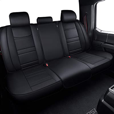LUCKYMAN CLUB Back Seat Covers fit for Crew Cab of Ford F150 F250 F350 F450 from 2004 to 2020 Rear Bench Covers with Waterproof Faux Leather (Black Rear Covers): Automotive