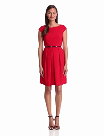 Adrianna Papell Women's Cap Sleeve Seamed A-Line Dress, Red, 6