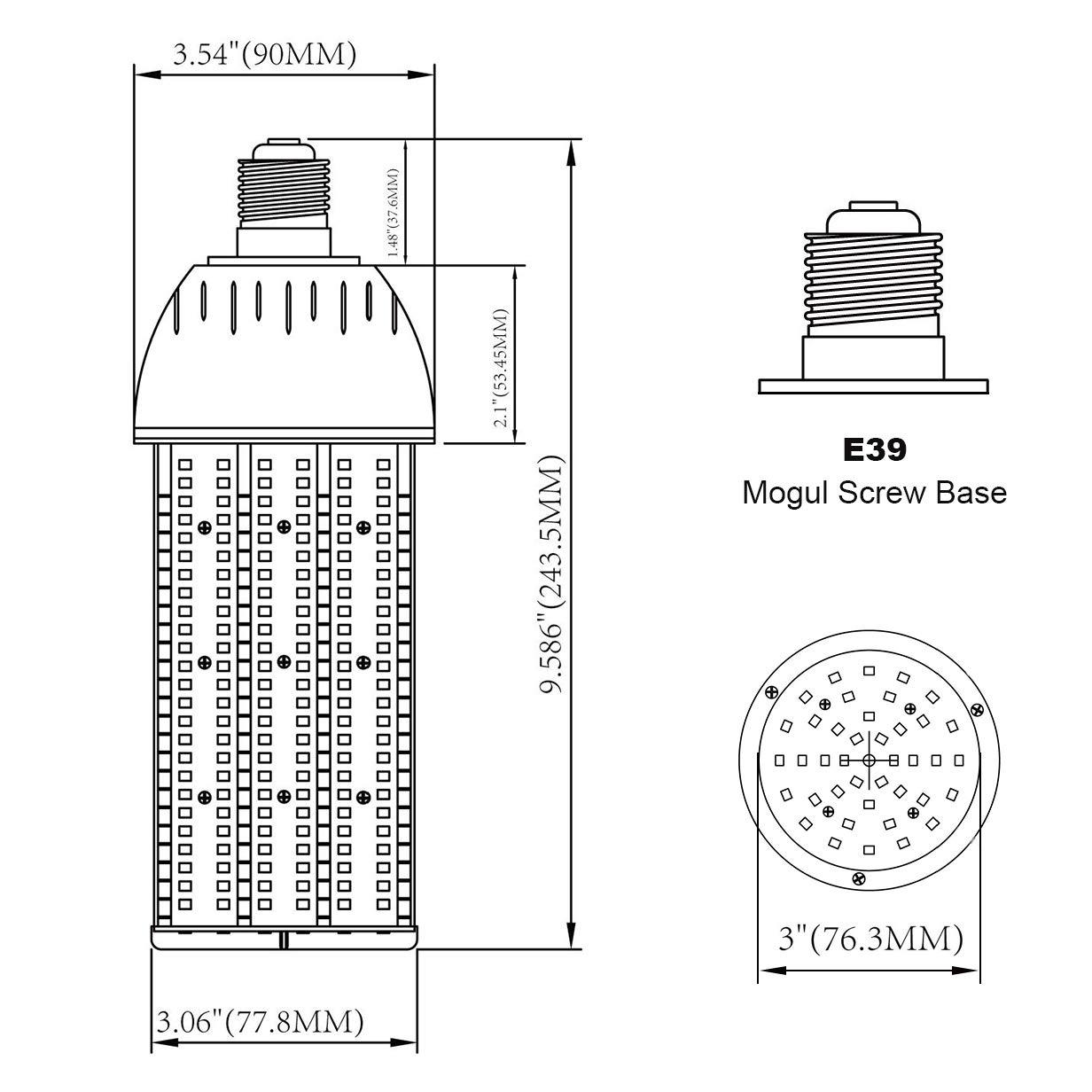 30 Watts LED Corn Light Bulb E26 Medium Base 5,000K Daylight Retrofit Conventional Halogen Compact Fluorescent Low Bay Barn Porch Backyard Floodlight Area Fixture UL Listed