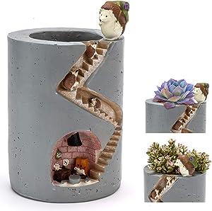 ChasBete Cute Flower Pots Indoor Hedgehog Planters Decorative Resin Garden Small Plant Pots/Brush Pot Reusable