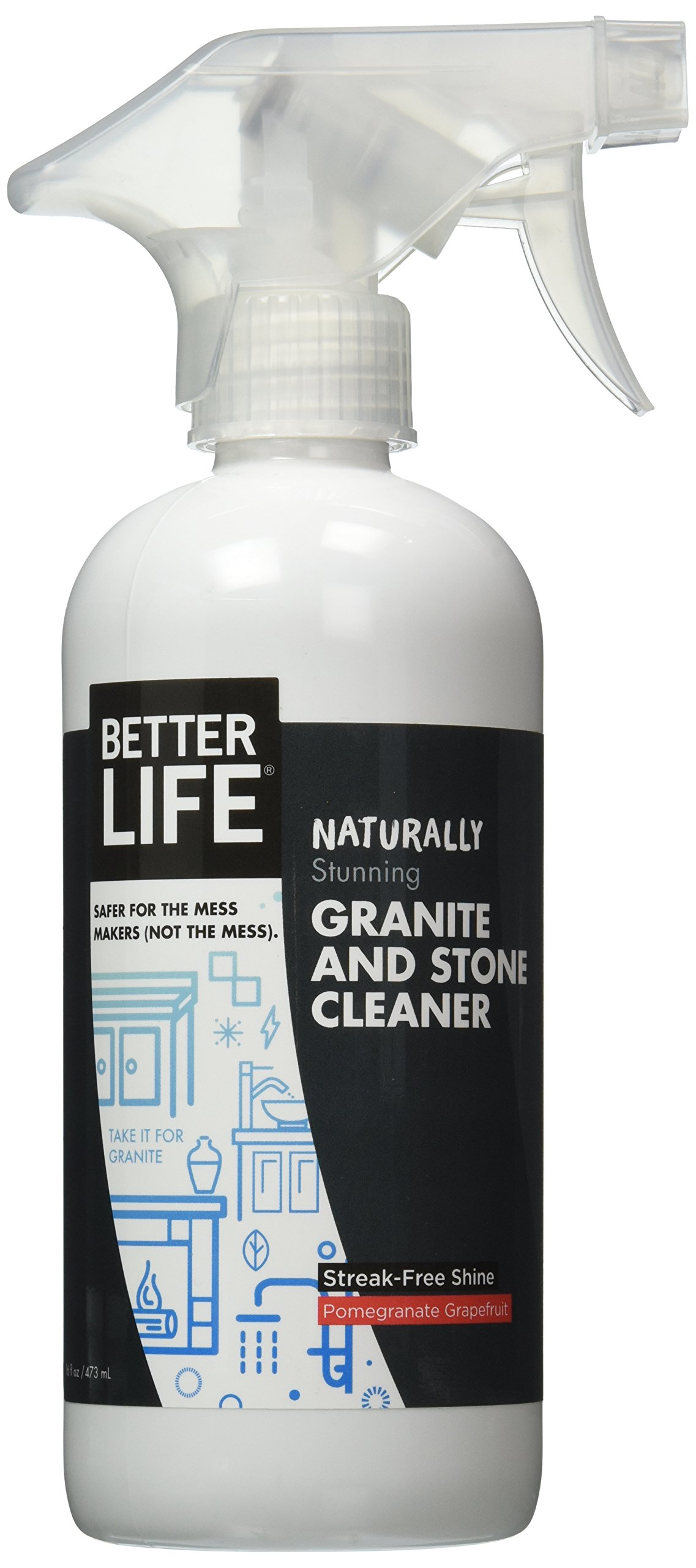 Better Life Natural Granite and Stone Cleaner, Pomegranate & Grapefruit, 16 Ounces, 24117
