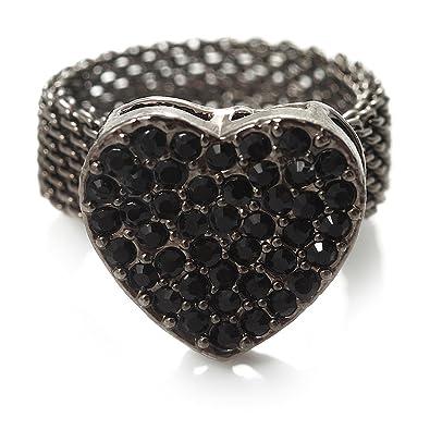 ef3084504 Avalaya Black Swarovski Crystal Mesh Heart Ring (Gun Metal) - Size 6