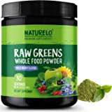 NATURELO Raw Greens Superfood Powder - Best Supplement to Boost Energy, Detox, Enhance Health - Organic Spirulina & Wheat Grass - Whole Food Vitamins from Fruit & Vegetable Extracts