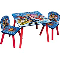 Paw Patrol Kids Wooden Table & 2 Chairs Set - Indoor Childrens Toddlers Playroom Furniture
