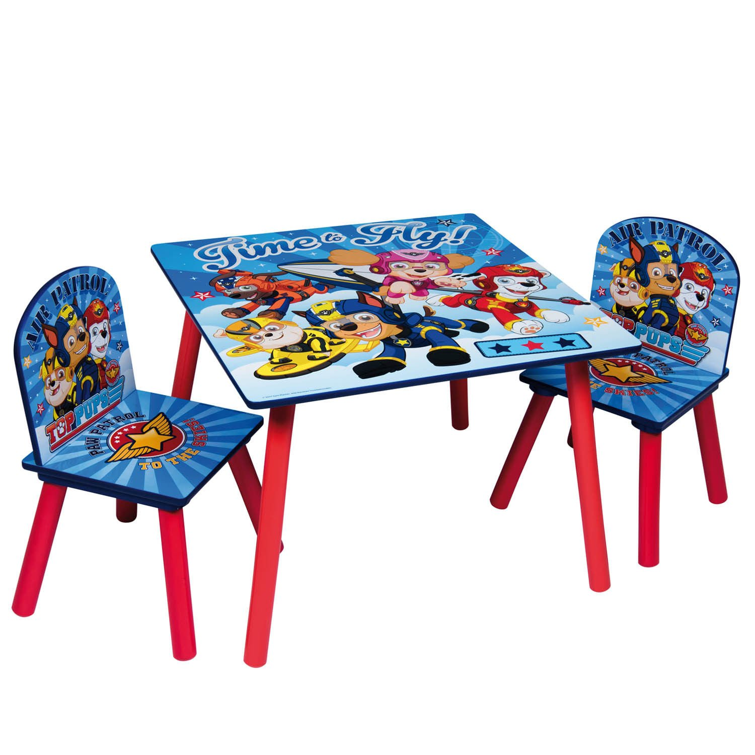 Paw Patrol Kids Wooden Table & 2 Chairs Set - Indoor Childrens Toddlers Playroom Furniture Global
