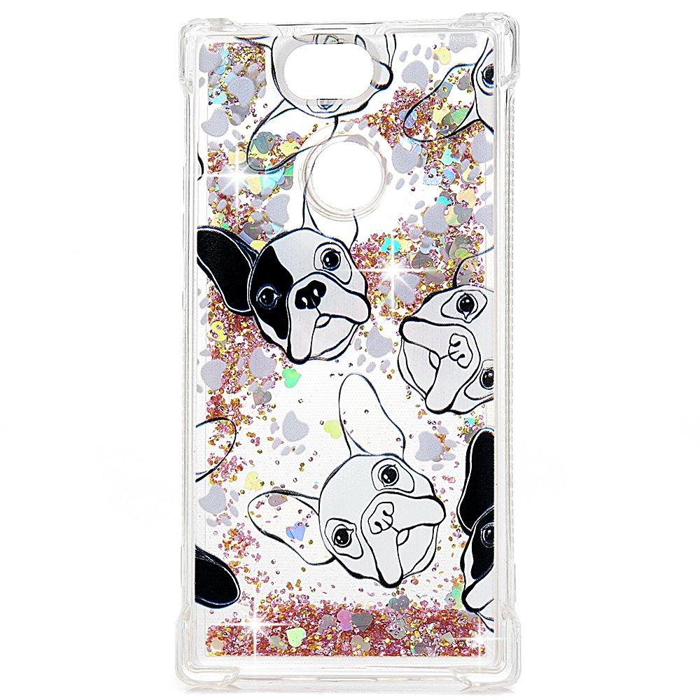 Tophung - Carcasa de TPU para Sony Xperia XA2, diseñ o Flotante con Purpurina lí quida Brillante, Color Transparente, Bulldog diseño Flotante con Purpurina líquida Brillante