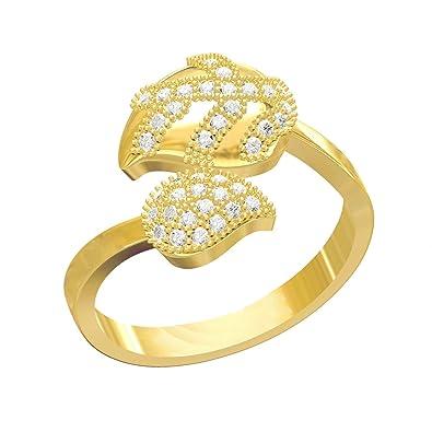 ff38b8e40fbf3a Spangel Fashion Jewellery Valentine Gift Wedding American diamond Crystal  Fancy party wear designer leaf pattern gold Rings for Girls couple Women  girl ...