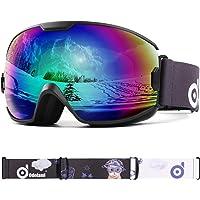 Odoland Skidglasögon för ungdomar, UV400-skydd och anti-dimlins för barn och barn, dubbelgrå sfärisk lins snowboard…