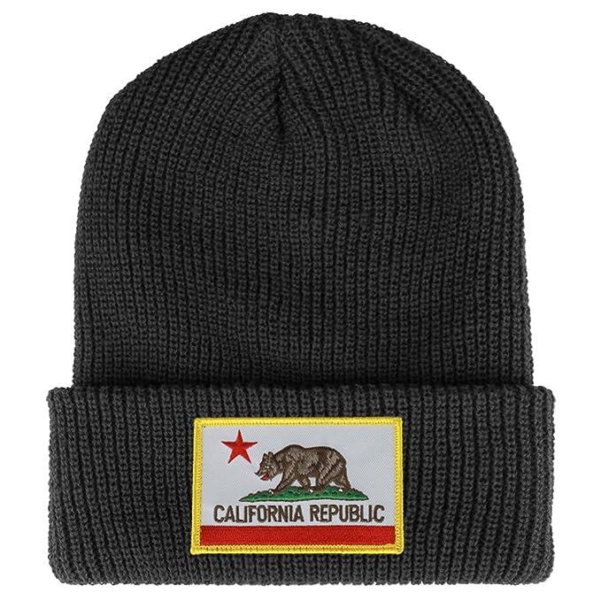 dbf5a0b1623 California Bear Flag Embroidered Patch Winter Ribbed Cuffed Knit Beanie -  DARK GREY