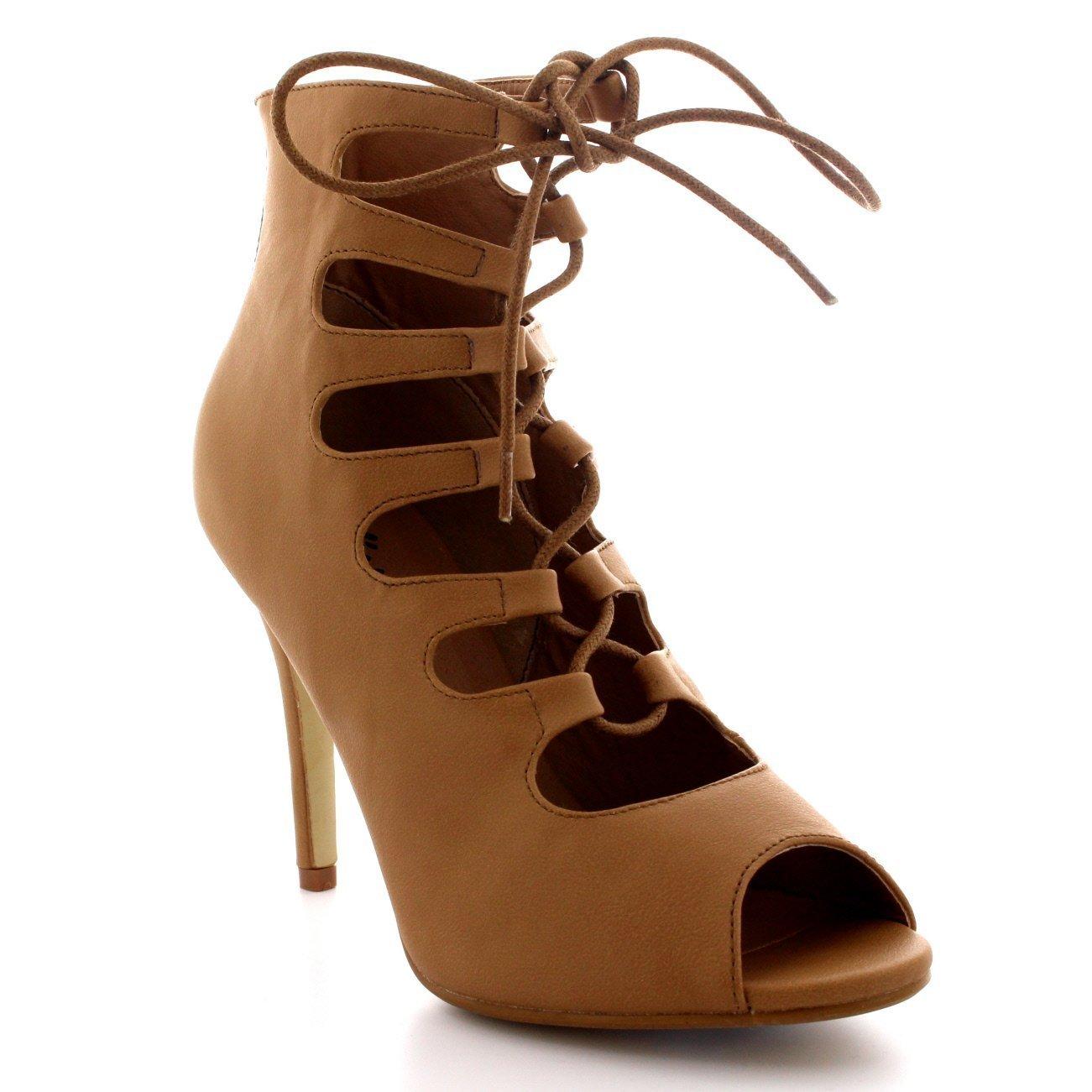 Viva Mujer Pumps Cordones Zapatos Peep Toe Fiesta Estiletes Gladiador Tacones Altos: Amazon.es: Zapatos y complementos