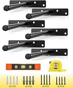 8 Inch Floating Shelf Brackets (6 pcs), Heavy Duty Hidden Shelf Brackets Blind Solid Steel Shelf Support Hardware for Floating Wood Shelves Home Décor