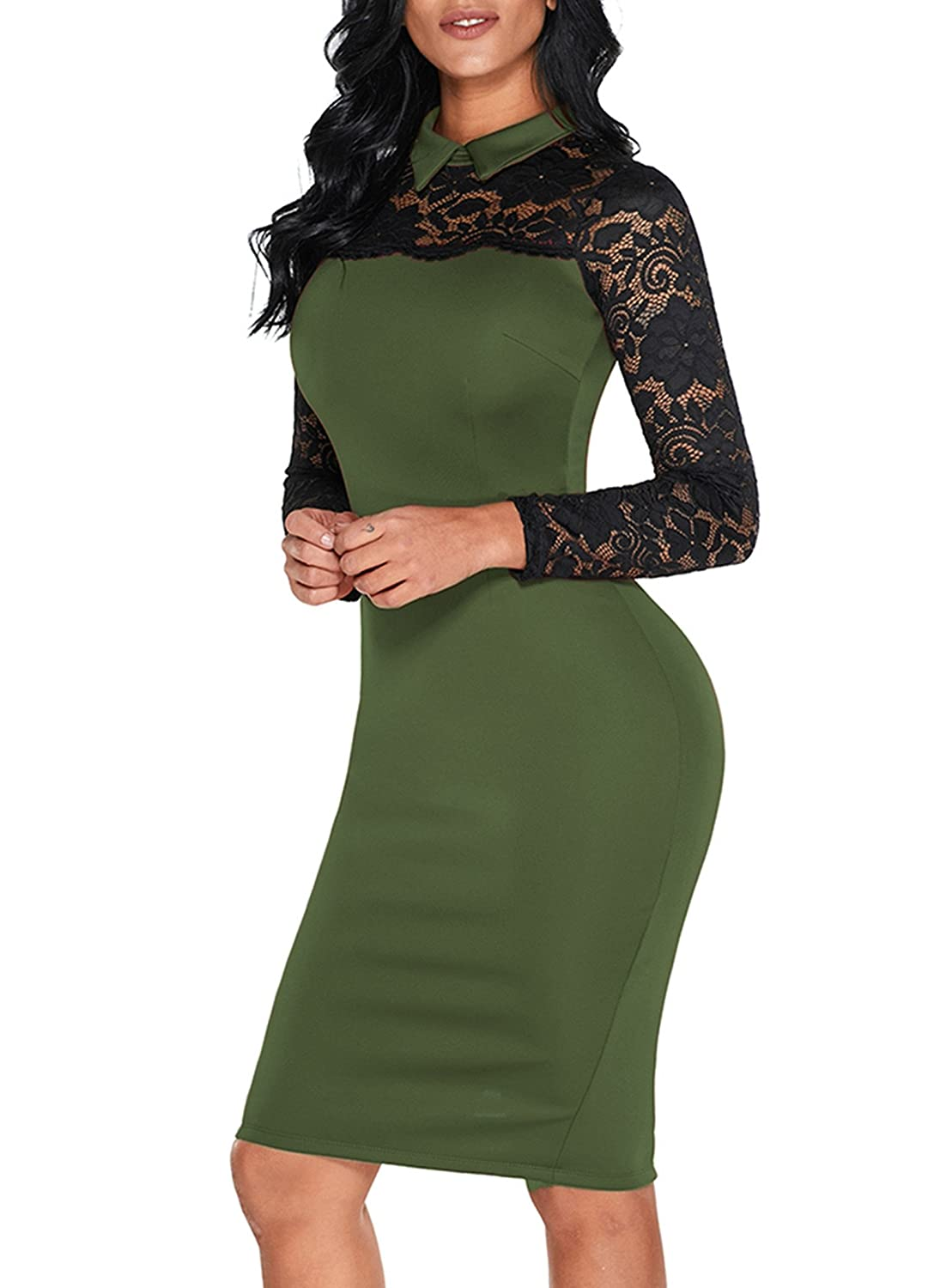 75209db00 Sidefeel Women High Neck Floral Lace Long Sleeve Club Bodycon Midi Dress at Amazon  Women s Clothing store