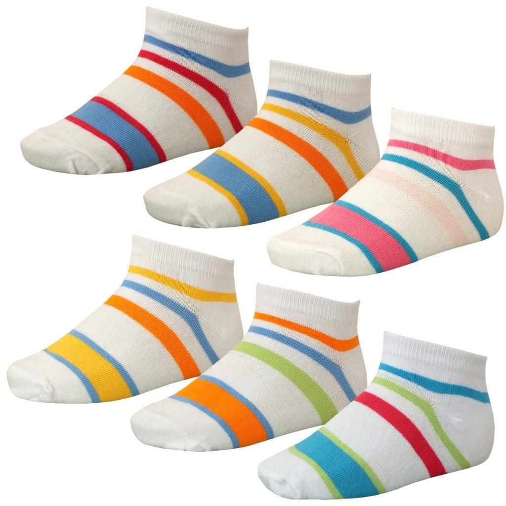 12 Paar farbenfrohe Kinder Sommer Sneakers weiß mit bunten Streifen Farbe:weiß Größe:35-38