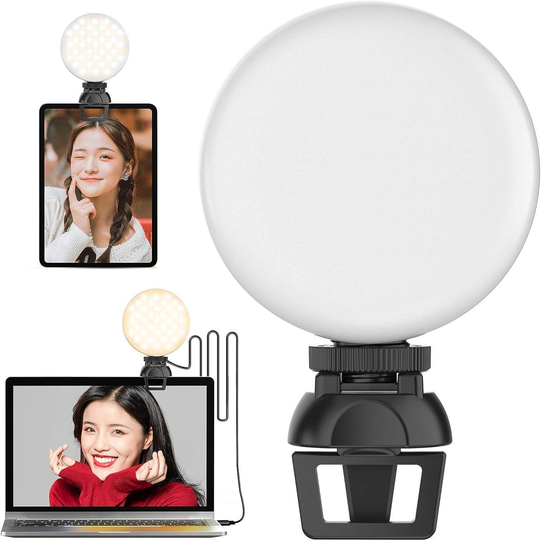 【2021年最新】Ulanzi LEDビデオライト 会議ライト クリップ式 リングライト3色モード 自撮りライト10段階調光 撮影用ライト オンライン会議 Type-C充電式
