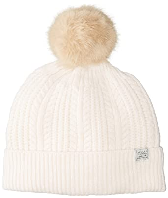 335e4d8acf641 Joules Women s Bobble Cable Knit Hat with Faux Fur Pom