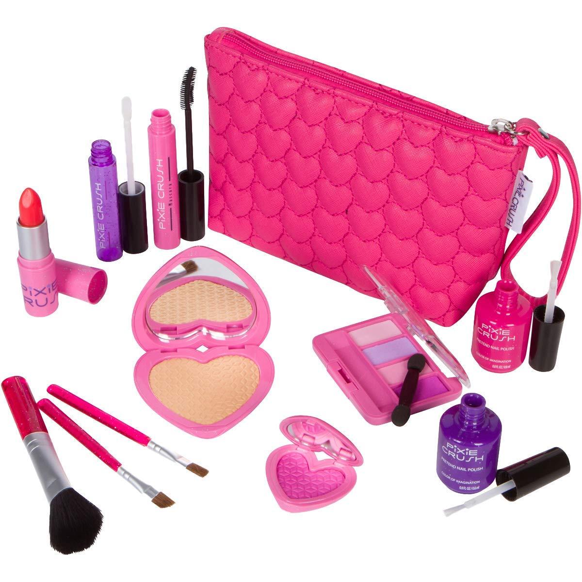 PixieCrush Pretend Play Makeup Kit. Designer Girls Love Set Heart Bag by PixieCrush